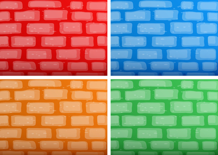 Background template with brickwalls in four different colors illustration