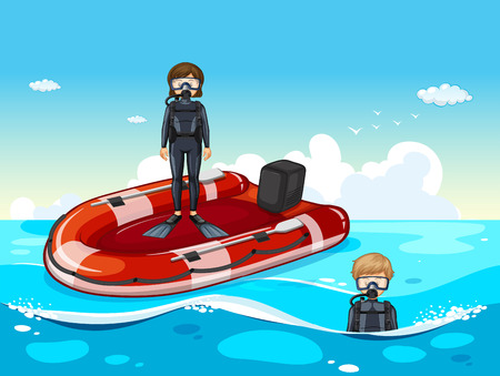 People diving in the ocean illustration Illustration