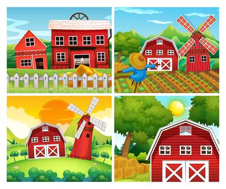 Four scenes of farmyards illustration