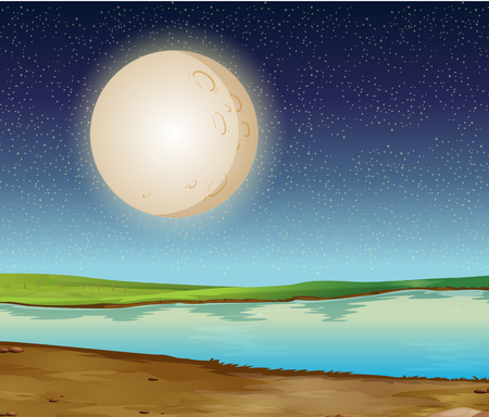 Scene with fullmoon over the river illustration Illustration