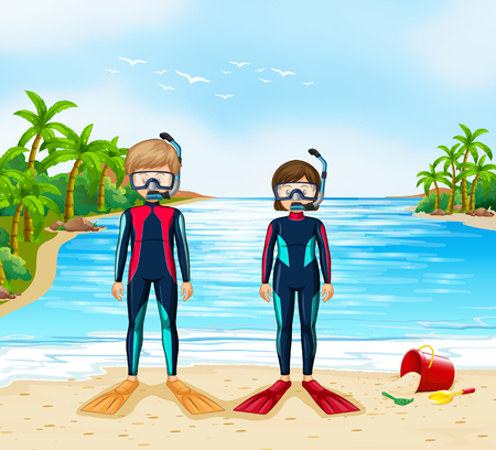 Two scuba divers in wetsuit standing on beach illustration