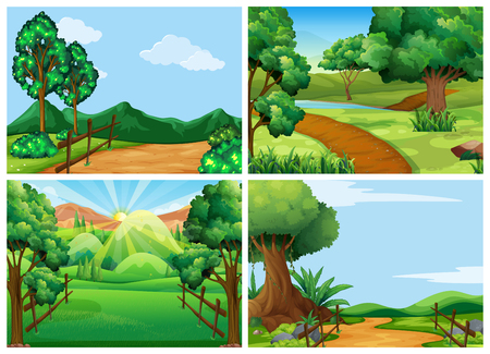 rural road: Mountain scenes with tracks and trees illustration Illustration