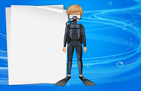 Paper template with diver in the sea illustration Illustration