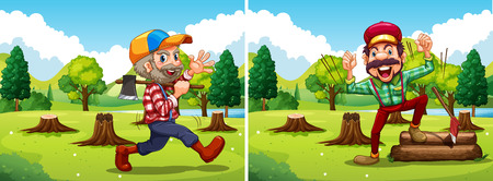 Two lumber jack chopping woods illustration