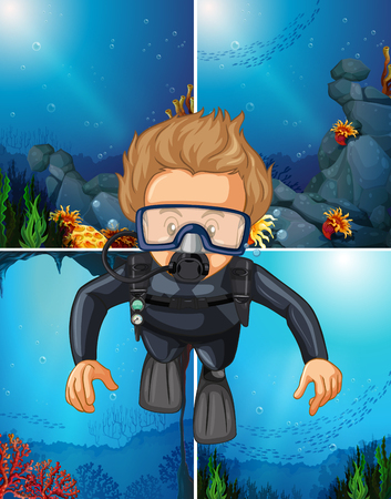 Man diving underwater and ocean backgrounds illustration Illustration