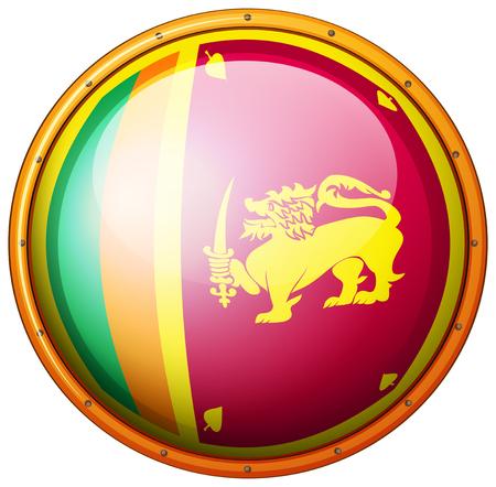 srilanka: Flag of Srilanka in round frame illustration Illustration