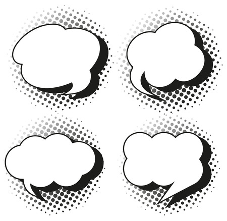 Speech bubble templates in grayscales illustration