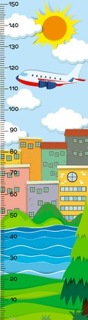 Height measurement chart with city buildings in background illustration