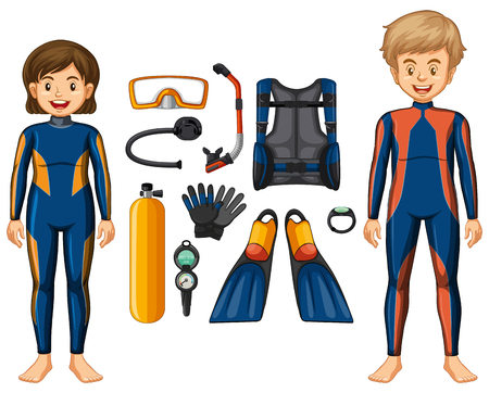 Scuba divers and different equipments illustration Illustration