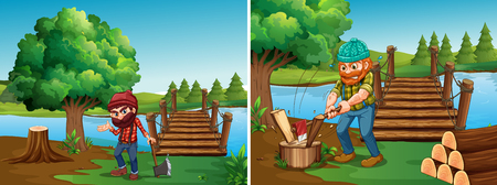 Two scenes with lumberjacks chopping woods illustration