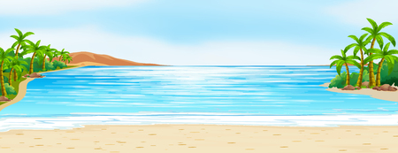 Scène met blauwe oceaan en witte zandillustratie