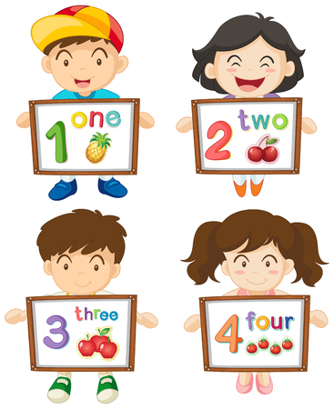 two child: Children with numbers one to four on boards illustration