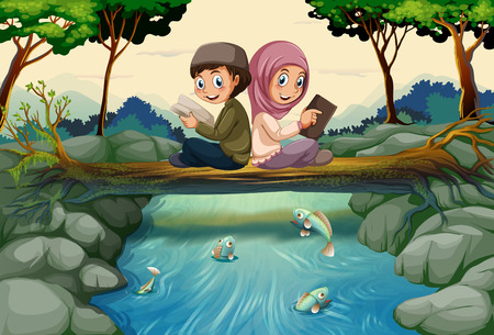 Two muslim kids reading books in forest illustration