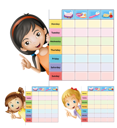 Timetable template with happy girls illustration