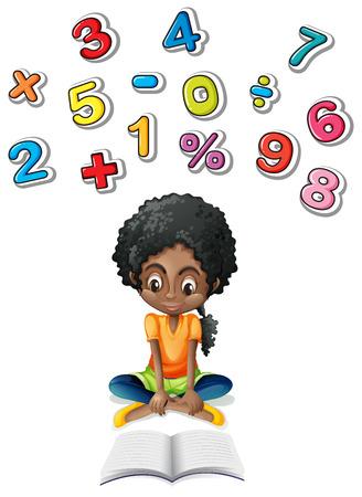 Niña, estudiar, matemáticas, Ilustración