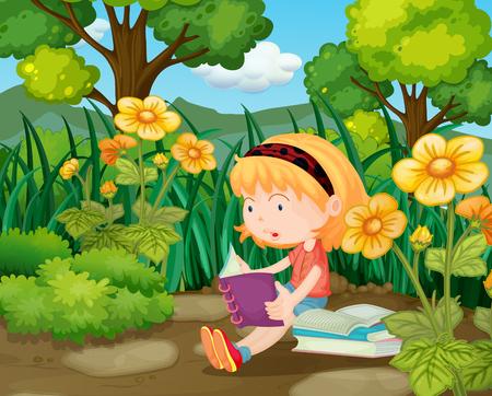 Little girl reading books in flower garden illustration