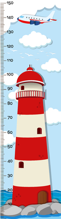 Height measurement chart template with lighthouse in background illustration