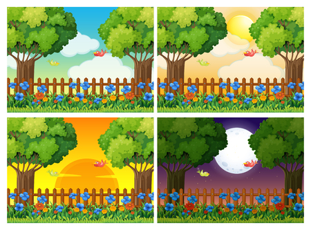 Four scenes of garden at different times illustration