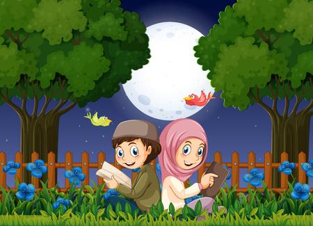 Two muslim kids reading in garden at night illustration