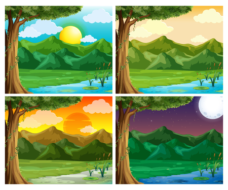 Four nature scene at different time of day illustration