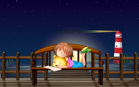 Little girl reading on the bench at night illustration