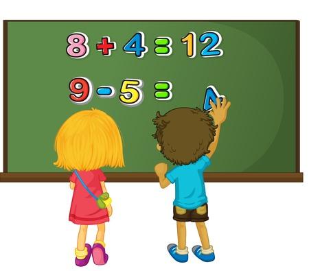 Dos niños resolver problemas de matemáticas a bordo de la ilustración Foto de archivo - 79988638