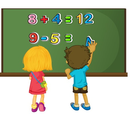 Two kids solving math problem on board illustration