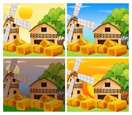 Four scenes of farmyard day and night illustration