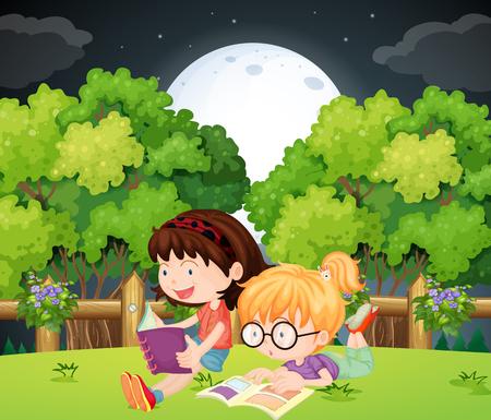 Girls reading book in park at night illustration Illustration