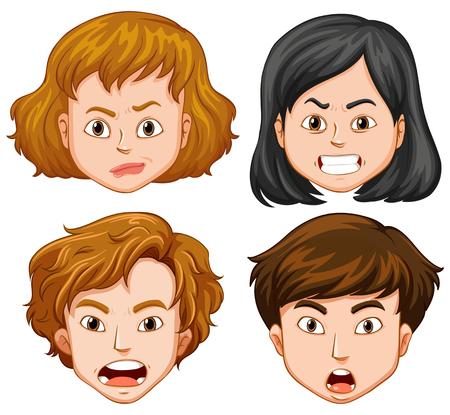 Mensen met verschillende gezichtsemotiesillustratie