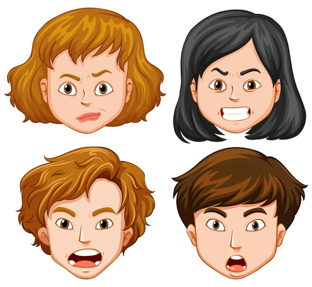 upset woman: People with different facial emotions illustration Illustration