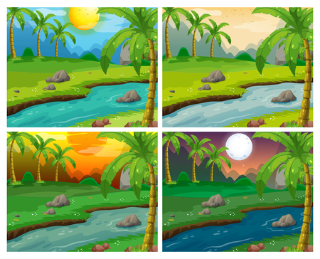 River scenes at four different times illustration Illustration