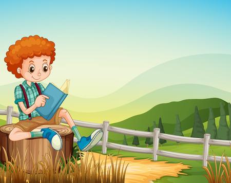 Little boy reading book in the field illustration Illustration