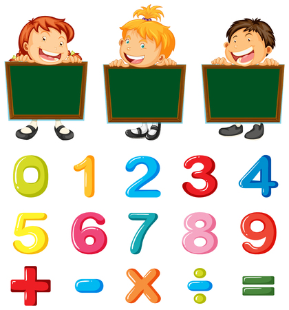 Children and numbers and signs illustration Illustration