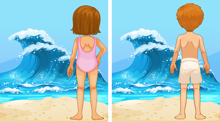 Ocean scenes with girl and boy looking at waves illustration