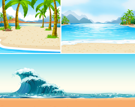 Three scenes of beach and ocean illustration