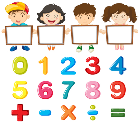 Children and colorful numbers illustration Çizim