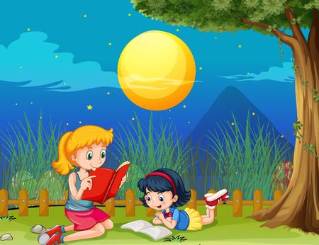 Two girls reading book on fullmoon night illustration Illustration