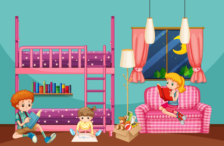 Children reading and drawing in bedroom illustration