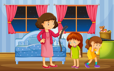 Girls being punished by mother in bedroom illustration