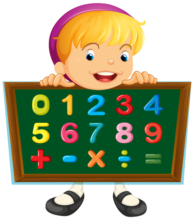 Girl holding board with numbers illustration Illustration