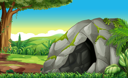 Forest scene with cave illustration