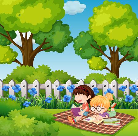 Two girls reading in backyard illustration Illustration