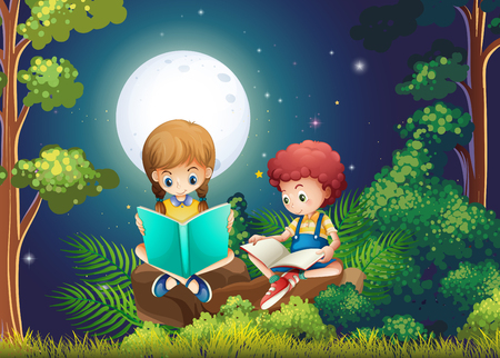 Boy and girl reading books in the woods at night illustration Illustration