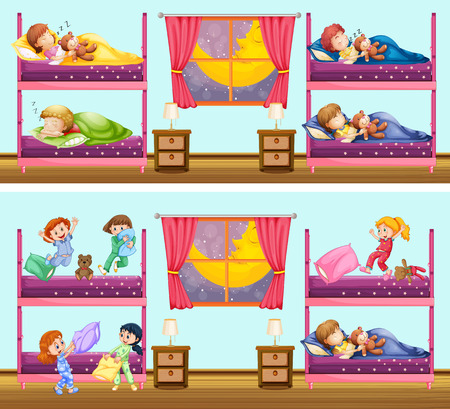 bunkbed: Two scenes of children in bedrooms illustration Illustration