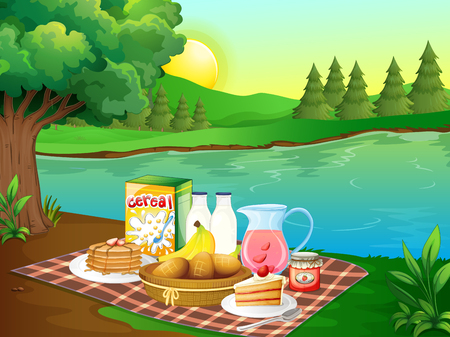Breakfast on mat by the river illustration