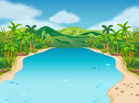 Scena con il fiume e le colline illustrazione