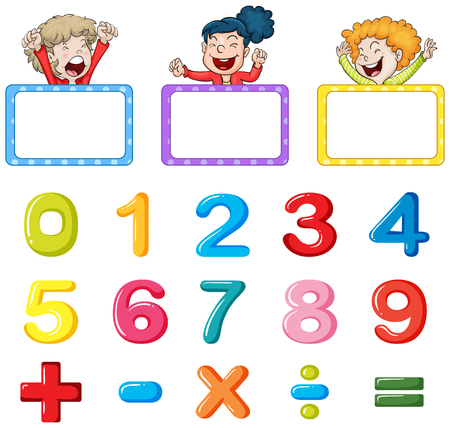 multiplication: Frame templates and numbers illustration
