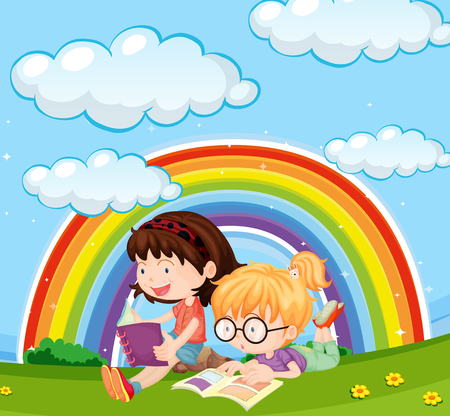 Girls reading book in park with rainbow in sky illustration Illustration
