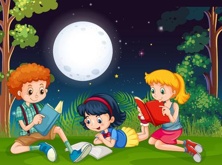 Three kids reading books at night in the park illustration Illustration
